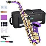 EASTROCK Purple/Golden Alto Saxophone E Flat Sax Full Kit for Students Beginner with Carrying Case,Mouthpiece,Mouthpiece Cushion Pads,Cleaning Cloth&Cleaning Rod,White Gloves,Neck Strap