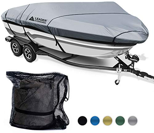 Great Deal! Leader Accessories 600D Polyester 5 Colors Waterproof Trailerable Runabout Boat Cover Fi...