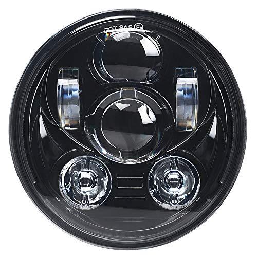 5.75 Inch LED Headlight for Harley Davidson Sportster Dyna Street Bob Low Rider Wide Glide Iron 883 Softail Triple Headlamp(Black)