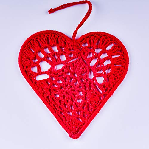 Now Is Now Mini Christmas Red Heart Hanging Ornaments, Set of 4 Handmade Crochet Christmas Red Hearts, Pack of 4 Individually Wrapped Christmas Hanging Decorations, 11cm