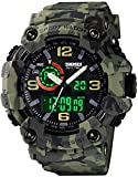 Men's Watches Multi Function Military S-Shock Sports Watch LED Digital Waterproof Alarm Watches (Camouflage Green)