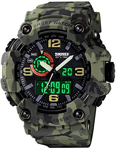 Relojes para hombre multifunción, reloj deportivo militar S-Shock LED, digital, impermeable, reloj despertador, verde (Camouflage Green)