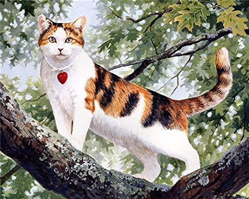 Preisvergleich Produktbild WOWDECOR DIY Malen nach Zahlen für Erwachsene Kinder Mädchen,  Süß Kaffee Katze Tiere 40x50cm Vorgedruckt Leinwand-Ölgemälde (ohne Rahmen)