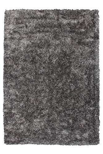 One Couture Hochflor Shaggy Teppich Langflor Uni Versch Modern Beige Rosa Taupe Wohnzimmerteppich Esszimmerteppich Teppichläufer Flur-Läufer verschied. Farben, 100% Polyester, Grau/Weiß, 120cm x 170cm