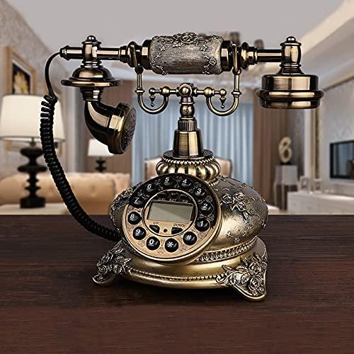 EASYTAO TeléFono Fijo Vintage de Bronce,TeléFono de Escritorio para Oficina en Casa,Decoracion casa Vintage,Puede Volver a Marcar y Rotar Diales,para la Decor(Color:Esfera de Botones de Bronce)