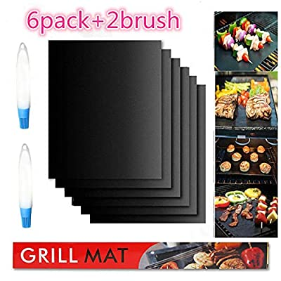 Diker Grill Mat Set of 6-100% Non-Stick BBQ Grill Mats- 19.69 x 15.75 Inch Reusable, and Easy to Clean - Works on Electric Grill Gas Charcoal BBQ (Black)