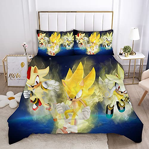 Aatensou Juego de cama Sonic The Hedgehog con estampado de dibujos animados, 1 funda nórdica + 2 fundas de almohada, funda de edredón hipoalergénica, 100% microfibra (M6,200 x 200 cm + 50 x 75 cm x 2)