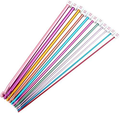 Juego de Ganchillo,Agujas de Ganchillo de Aluminio 11 Piezas Multicolor Ganchillos de Crochet de Afgano Tunecino para Herramientas de Tejido