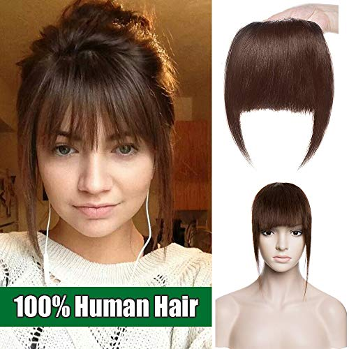 Clip in Pony Echthaar Extensions Clip in bangs - Haarteil Bangs glatt Echthaar Mittelbraun #04 25g