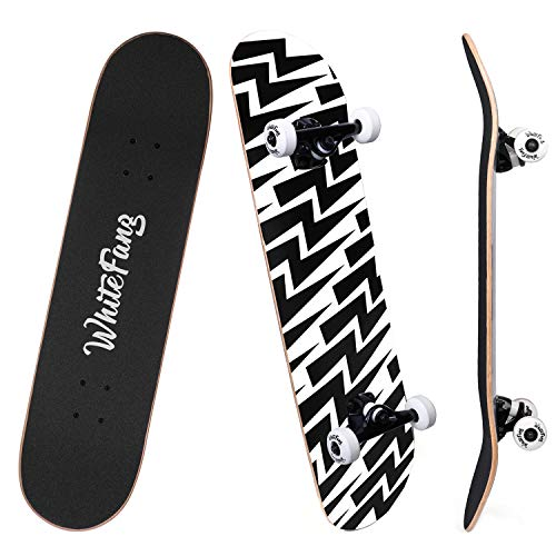 WhiteFang Skateboards for Beginners, Complete Skateboard 31 x 7.88, 7 Layer...