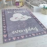 Alfombra Infantil, Tejido Plano para Habitación Infantil, Frase Estampada Y Nube, Gris Rosa, tamaño:80x150 cm
