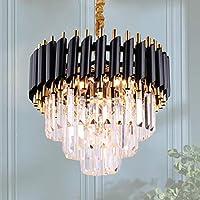 3段シャンデリアクリスタルライト5つのライトクリスタルの天井の照明器具フラッシュマウントペンダントライトダイニングルームのリビングルームのキッチンの廊下、E14*4(電球別売)