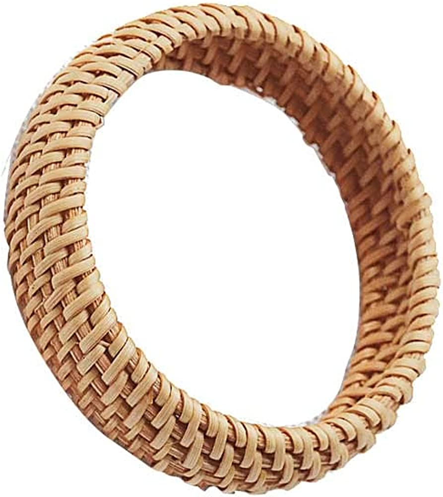 Natural Boho Wooden Large Bangles Handmade Wood Cuff Bracelet Rattan Woven Bracelets Retro Ethnic Simple Round Chunky Bracelet Unique Natural Jewelry for Women Girls