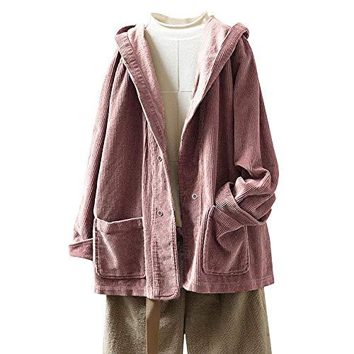 YEBIRAL Damen Herbst Frühling Cordjacke Lässig Bequem Mantel Jacke mit Kapuze Langarm Kapuzenjacke Sweatshirt Oversize Coat(3XL,Rosa)
