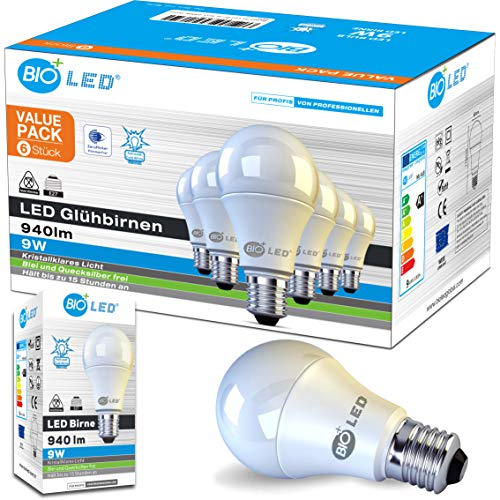Bioled E27 LED Lampe, 9W, 6er Pack, Kaltweiß 6400K, 806Lm, Ersetzt 100W Glühlampe, LED Birne, E27 LED Leuchtmittel, E27 LED Licht, E27 LED Beleuchtung
