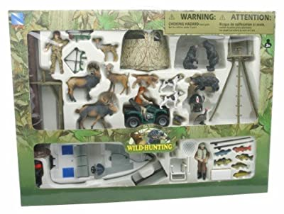 New Ray Deluxe Nature Wild Game Hunting & Fishing Ultimate All in One Playset with Fish , Deer , Moose ,Bear , Dogs and More from New Ray