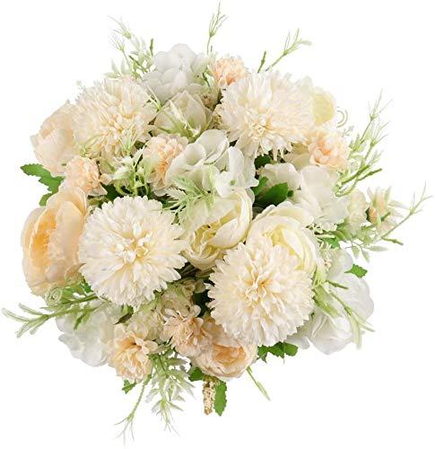 Decpro 2 Piezas de hortensias de Seda de peonía Artificial, claveles de crisantemo, Todos los Ramos de Flores para Bodas, hogar, Oficina, jardín, decoración, centros de Mesa(Blanco Crema)