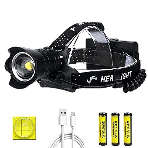 Linterna frontal brillante, 20000 lúmenes XHP100 Linterna frontal LED recargable Superpotencia con zoom 3 modos Faros delanteros impermeables con función de banco de energía para acampar y caminar