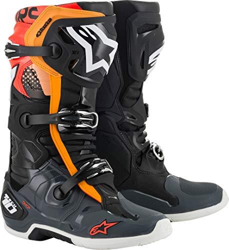 Alpinestars Unisex-Erwachsene Tech 10 Stiefel, Schwarz/Gry/Org/Fluo Red, Größe 46 (Mehrfarbig, Einheitsgröße