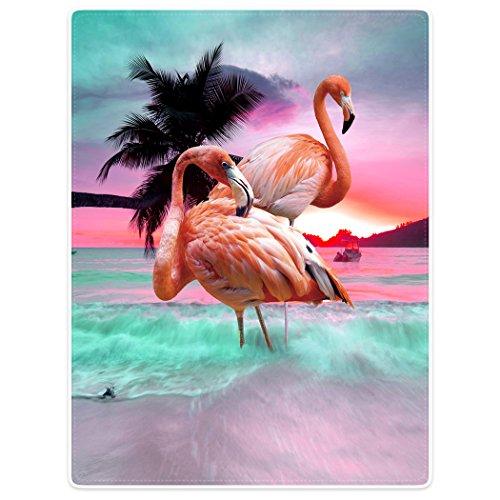 Violetpos Dick Decke Weich Wärme Gemütlich Flanell-Fleece Sofadecke Deckeldecke Die schöne rosa Flamingos Sonnenuntergang kokospalmen 125 x 200 cm