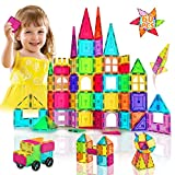 HOMOFY Magnetic Tiles Building Set for Kids New Upgrade 3D Magnetic Blocks Imagination Inspirational Educational Magnetic Toys for 3 4 5 6 7 Year Old Boys Girls Gifts