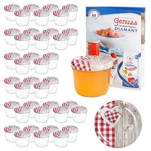 MamboCat 40er 230 ml Sturzglas-Set | Einmachgläser + Twist-Off-Deckel Holz-Herz rotkariert + GRATIS Rezeptheft | einkochen & konservieren | backofengeeignet