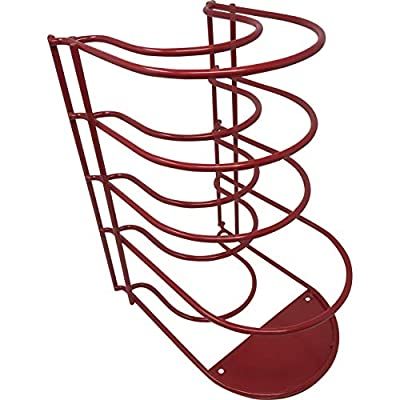 Heavy Duty Pots and Pans Organizer - For Cast Iron Skillets, Pots, Frying Pans, Lids | 5-Tier Durable Steel Rack for Kitchen Counter & Cabinet Storage and Organization - No Assembly Required [Red]