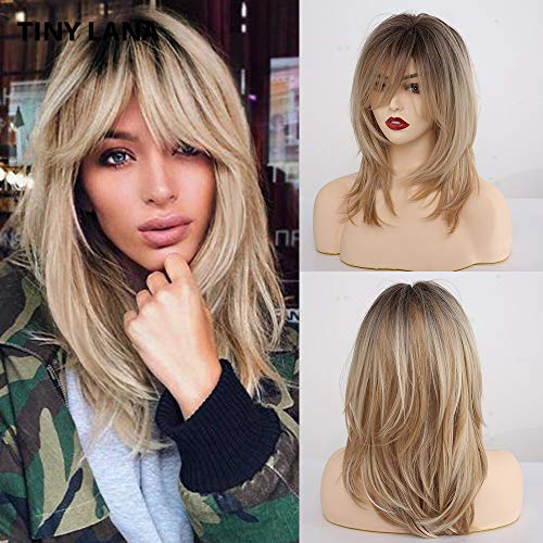 Alanhair Long Curly Blonde Women's Wigs Shoulder-Length Synthetic Wigs for Women with Bangs 18 Inch Dark Root Light-Blonde Hair Wigs for White Women