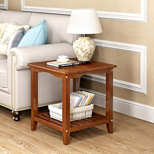 chx Square Small Coffee Table Home Simple Solid Wood Side Table Living Room Sofa Bookshelf Double Bedroom Bedside Lamp Bracket