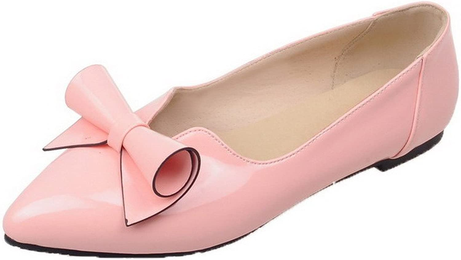 AmoonyFashion Women's Low Heel Solid Pu Closed-Toe Pumps-shoes