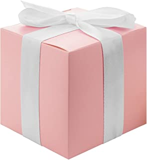 Andaz Press Gift Favor Tuck Boxes, Blush Pink, 3 x 3 x 3 Cube Favor Box with Satin Ribbon Bulk 50-Pack, Party Favor Gift Box for Wedding Favors, Baby Shower, Graduation, Baptism, Bridal Shower
