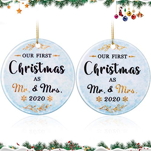 2 Pieces Our First Christmas Married Ornament 2020, Ceramic Newlyweds Couple Christmas Ornament First Christmas as Mr and Mrs Keepsake 3 Inch Porcelain Wedding Romantic Marriage Decoration