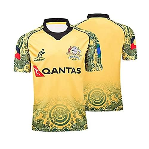 ZDVHM 2017 Australia Edición Conmemorativa Rugby Jersey Uniforme de Manga Corta 100% Poliéster Tela Transpirable Deportes Entrenamiento Camiseta Camisa de fútbol para Hombres Mujeres