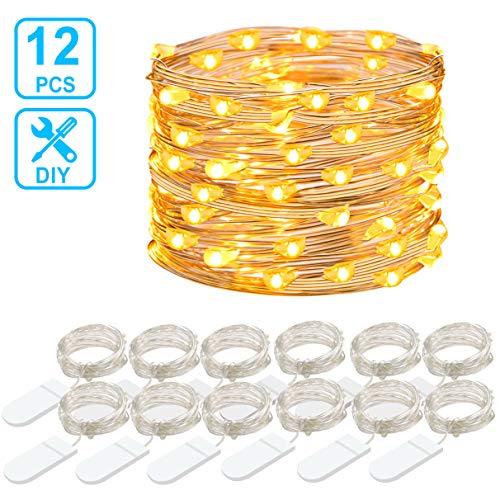 12 Packs Cadena de Luces, Govee 1m/3.3ft 20 LEDs Guirnaldas Luces con Pilas, IP67 Impermeable Luces Decorativas Flexible de Alambre de Cobre para Navidad, Fiesta - Blanco Cálido