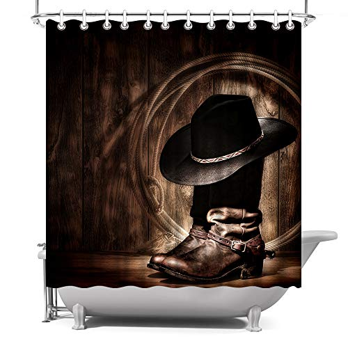 ArtBones Western Cowboy Shower Curtain American Western Cowboy Hat Boots Vintage Picture Prints Bath Curtains Waterproof Polyester Fabric with Hooks 72x72inch