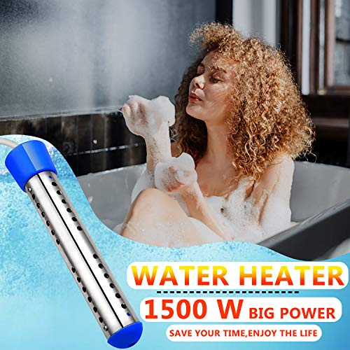 Immersion Water Heater, 1500W Electric Water Heater with Stainless Steel Protective Cover, Submersible Instant Hot Water Heater for Pool, Bucket, Portable Bathtub, Basin, Winter Washing (Blue)