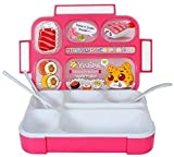 WONDERKART 1000 ML Leakproof Grid BPA Free 5 Compartments Lunch Box with Spoon