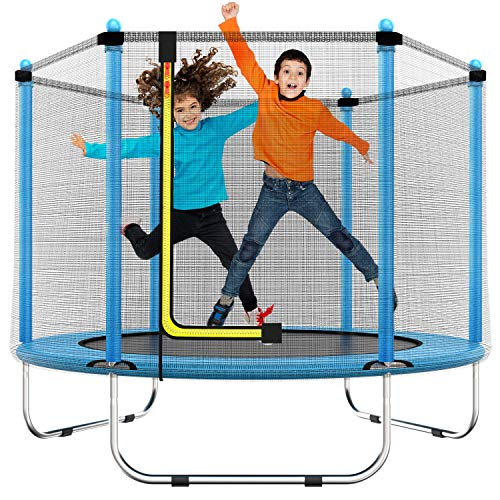 60  Trampoline for Kids - 5 Ft Indoor or Outdoor Mini Toddler Trampoline with Safety Enclosure, Basketball Hoop, Birthday Gifts for Kids, Gifts for Boy and Girl, Baby Toddler Trampoline Toys, Age 1-8