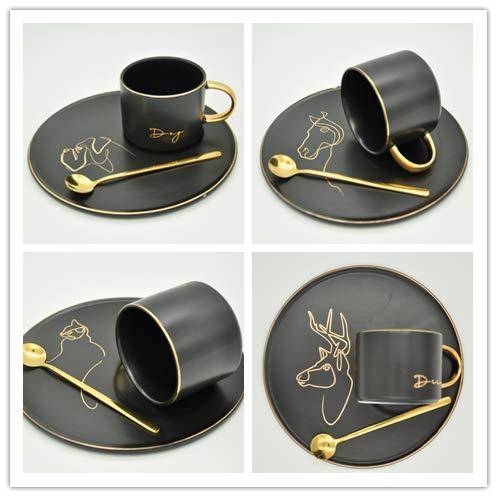 Hochwertige Kaffeetassen Porzellan mit Unterteller und Löffeln 12-TLG. je 6 cm hoch 4-Tiere Motive (Hund REH Pferd Katze) Muster Sortiert mit golden Rand Designed Kaffeetasse Schlicht
