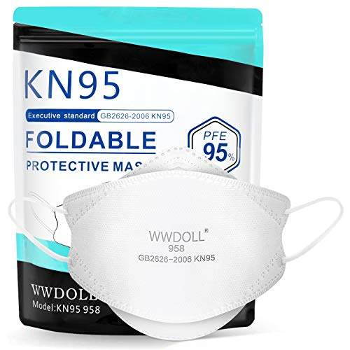 WWDOLL KN95 Face Mask - 25 Pcs Breathable 3D Design Safety Masks, Protection KN95 Masks for Men and Women - KN95 958