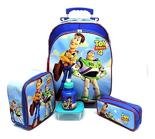 Kit Mochila Infantil Escolar Toy Story Rodinhas Tam G F5