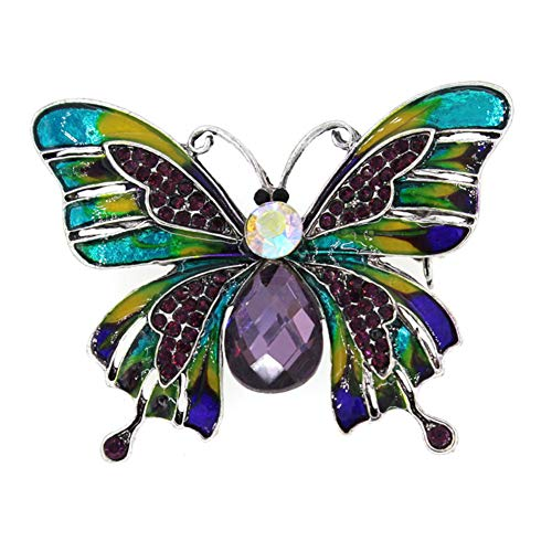 zhenleisier Brooch Pin,Chic Women Butterfly Shaped Rhinestone Inlaid Enamel Brooch Pin Shirt Dress Pants Scarf Lapel Denim Jacket Collar Bag Badge Cardigan Clip Colorful