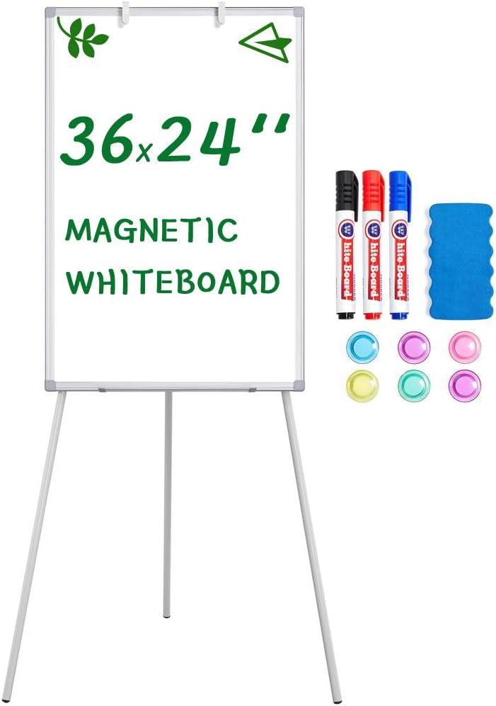 Topeakmart Easel Whiteboard - Magnetic Portable Dry-Erase Easel Board 36 x 24 Tripod Whiteboard Flip Chart Easel Stand Portable Height Adjustable Whiteboard for Office / Teaching / Home, White