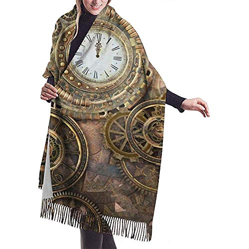 Regan Nehemiah Rusty Steampunk met klok en verschillende soorten tandwielen warme kwasten zachte sjaal winter grote plafond wikkelsjaal