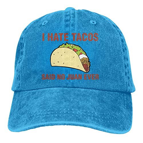 I Hate Tacos Said No Juan Ever Trend Printing Cowboy Hat Fashion Baseball Cap for Men and Women Black
