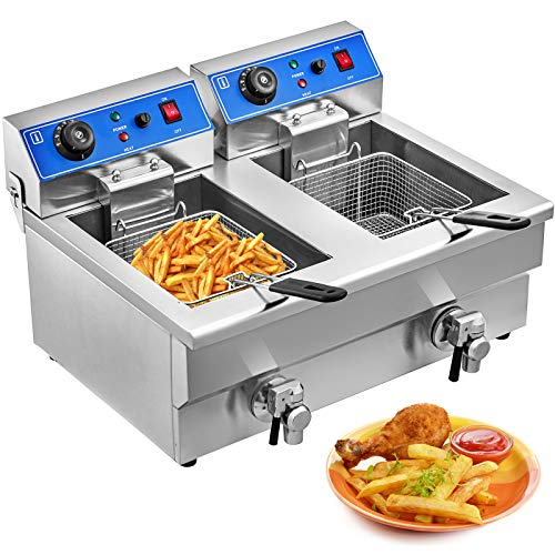 VEVOR Friteuse Electrique INOX 20L Friteuse Commerciale en Acier INOX à Double Réservoir 6000W Friteuse avec 2 Paniers à Friture avec Poignée en Caoutchouc Température 50-200℃ pour Frire
