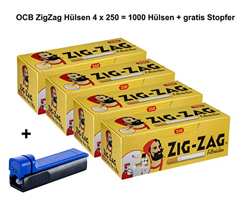 sunmondo Zigzag Zigaretten Hülsen 4 x 250 Stück = 1000 Stück + gratis Stopfer