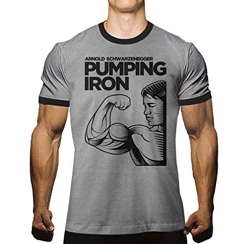 Arnold Schwarzenegger Pumping Iron T-Shirt for Men Bodybuilding Gym Workout (Large, Athletic Heather/Jet Black)