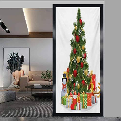 Película de ventana de 60 cm de ancho x 76 cm de largo no adhesiva para oficina de privacidad, Navidad, árbol de Navidad con bolas vívidas y copos de nieve para celebración de Año Nuevo, rojo, verde, amarillo