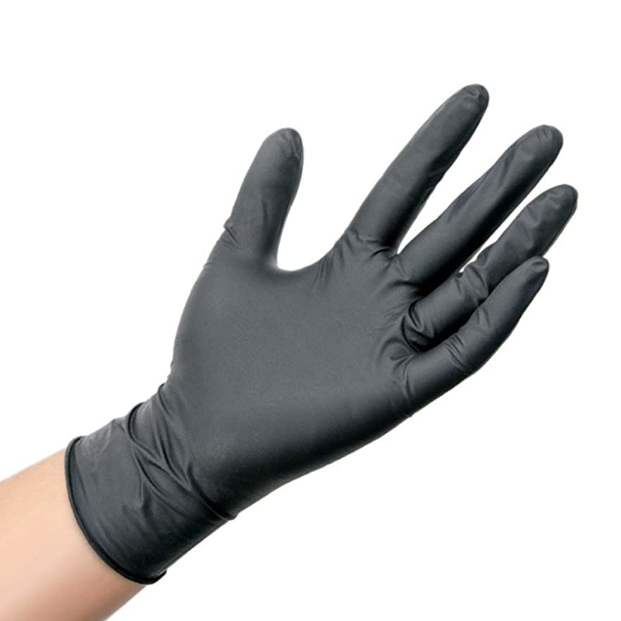 調和予測する南アメリカ肥厚した抗酸とアルカリの帯電防止保護手袋使い捨て工業用ニトリルゴム手袋 YANW (色 : ブラック, サイズ さいず : M m)